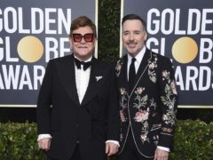Sir Elton John and David Furnish at the Golden Globes (Jordan Strauss/Invision/AP)