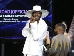 Lil Nas X accepts the award for best music video for Old Town Road (Matt Sayles/AP/PA)