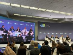 A panel at the CES conference in Las Vegas (Martyn Landi/PA)