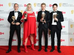 Simon Mayhew-Archer, Daisy May Cooper, Charlie Cooper and Tom George with their awards for Best Scripted Comedy at the Virgin TV British Academy Television Awards 2018 (Ian West/PA)