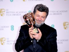 Andy Serkis with his award for outstanding British contribution to cinema at the 73rd British Academy Film Awards (Ian West/PA)