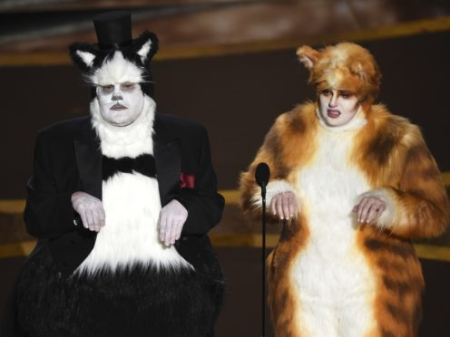 James Corden and Rebel Wilson as their characters from Cats (Chris Pizzello/AP)