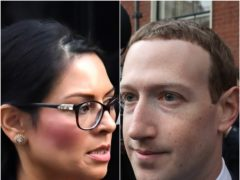 Priti Patel and Mark Zuckerberg (Dominic Lipinski/Niall Carson/PA)