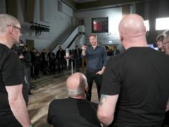 The Duke of Sussex meets members of the Invictus Games Choir (Hannah McKay/PA)