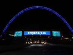 Wembley Arch is illuminated in blue to show appreciation to the NHS (Kirsty O' Connor/PA)