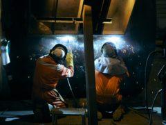 Work begins on the 20-metre-long Blue Star wave energy converter (Neil Davidson/PA)