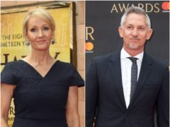 JK Rowling and Gary Lineker are among the celebrities sending messages of support to Boris Johnson (Isabel Infantes/Yui Mok/PA)