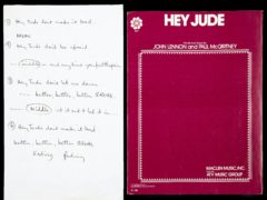 Sir Paul McCartney's handwritten lyrics for The Beatles's 1968 hit Hey Jude have sold at auction for 910,000 dollars (£731,100) (Julien's Auctions/PA)
