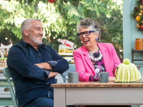 Prue Leith and Paul Hollywood appearing in The Great Festive Bake Off (C4/Love Productions/PA)