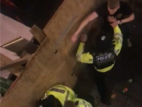 Nottinghamshire Police were seen placing one youngster in handcuffs (Simmy Purwaha)