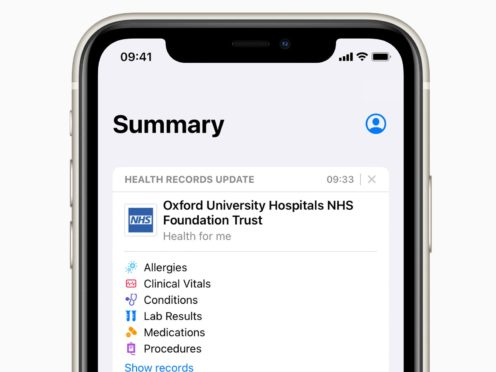 Apple's Health Record feature has come to the UK (Apple/PA)