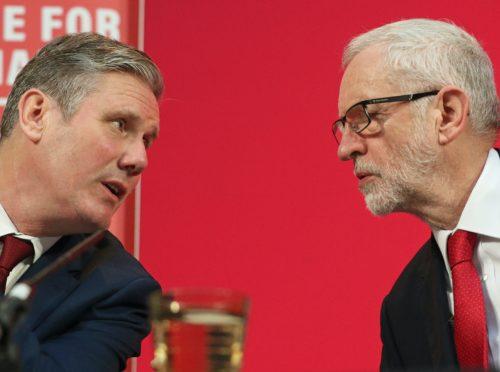 Labour Party leader Sir Keir Starmer and Jeremy Corbyn (Jonathan Brady/PA)