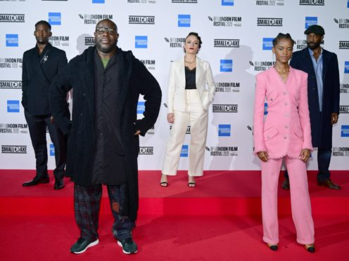 Director Steve McQueen, second left, with cast members, left to right, Malachi Kirby, Rochenda Sandall, Letitia Wright and Shaun Parkes, socially distancing on the red carpet (Ian West/PA)