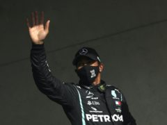 Mercedes driver Lewis Hamilton waves to the crowd in Portugal (Jose Sena Goulao/AP)