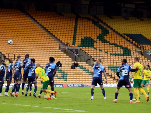 Mario Vrancic, right, scores Norwich's late winner against Wycombe (Nigel French/PA)