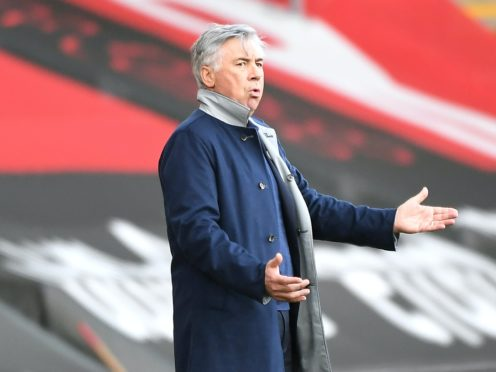 Everton manager Carlo Ancelotti appears frustrated during the match at St Mary's (Andy Rain/PA)