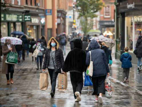 Shoppers in Nottingham ahead of the region being moved into Tier 3 coronavirus restrictions (Joe Giddens/PA)