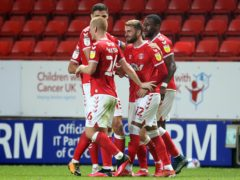 Andrew Shinnie, centre, celebrates scoring Charlton's second goal (Steven Paston/PA)