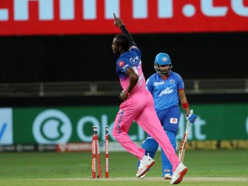 Jofra Archer has taken 17 wickets in this year's rearranged IPL (BCCI/handout)