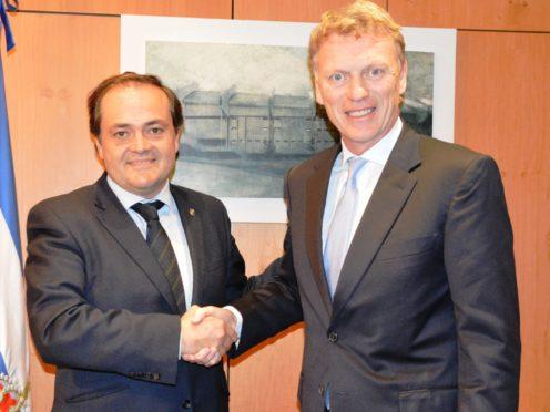 David Moyes, right, with Real Sociedad president Jokin Aperribay (Real Sociedad)