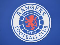A general view of a Rangers badge at Ibrox Stadium, Glasgow.