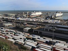 Lorries queue for ferries at the Port of Dover in Kent (PA)
