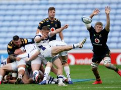 Wasps' Jack Willis, right, tries to block Andy Uren's kick (Tim Goode/PA)