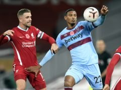 West Ham forward Sebastien Haller, right, struggled against Liverpool (Peter Powell/PA)