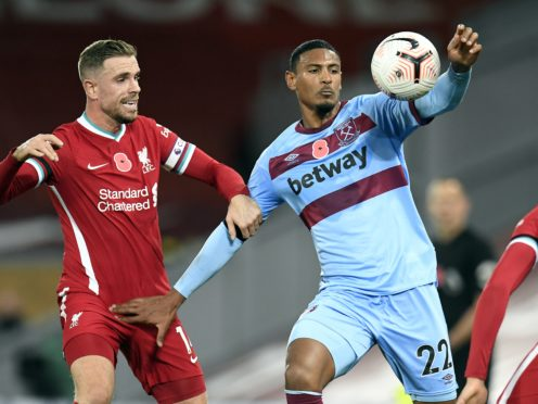 West Ham forward Sebastien Haller, right, struggled against Liverpool (Peter Powell/PA)