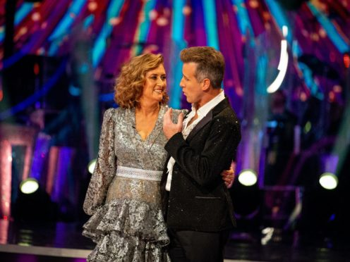 Jacqui Smith and Anton Du Beke during the results show (Guy Levy/BBC/PA)
