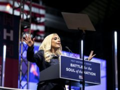 Lady Gaga speaks during a drive-in campaign event for Democratic presidential candidate Joe Biden (Alexandra Wimley/AP)