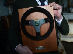 The steering wheel used by F1 legend Ayrton Senna (Jacob King/PA)