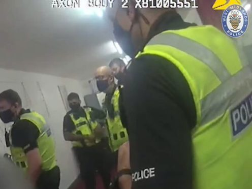 Still from body-worn video footage when officers issued a £10,000 fine to the organiser of a party attended by 60 people (West Midlands Police/PA)