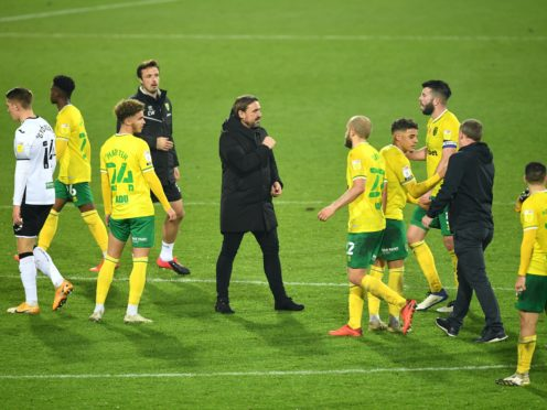 Norwich manager Daniel Farke celebrates with his players after beating Swansea (Joe Giddens/PA)