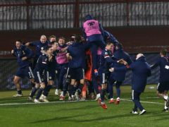 Scotland celebrate victory (Novak Djurovic/PA)