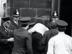 Peter Sutcliffe, arriving at Dewsbury Magistrates Court (PA)