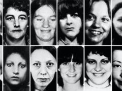 Twelve of the thirteen victims of Peter Sutcliffe. Top row (left to right) Wilma McCann, Emily Jackson, Irene Richardson, Patricia Atkinson, Jayne McDonald and Jean Jordan. Bottom row: Yvonne Pearson, Helen Rytka, Vera Millward, Josephine Whitaker, Barbara Leach and Jacqueline Hill.