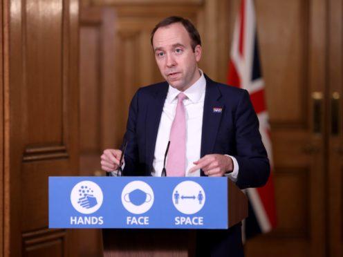 Health Secretary Matt Hancock said the second peak of coronavirus is flattening (Trevor Adams/Daily Mail/PA)