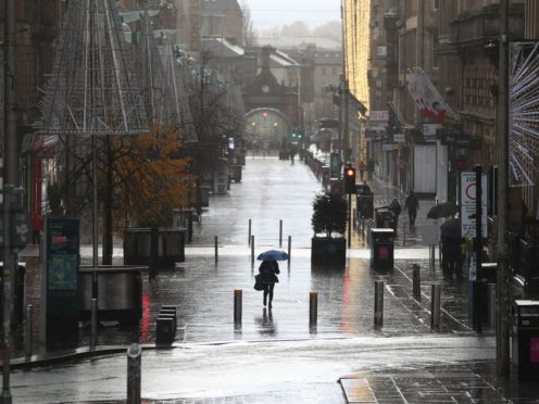A quiet Buchanan Street in Glasgow, after the city was put into Level 4 restrictions to slow the spread of coronavirus (Andrew Milligan/PA)