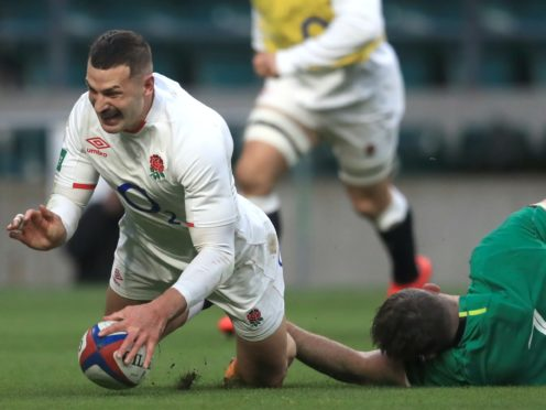 Jonny May, left, scores his second try against Ireland (Adam Davy/PA)