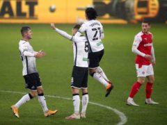 Matt Grimes (second left) was Swansea's match-winner against Rotherham (Nick Potts/PA)