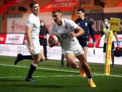 Henry Slade coasts in for England's first try (David Davies/PA)
