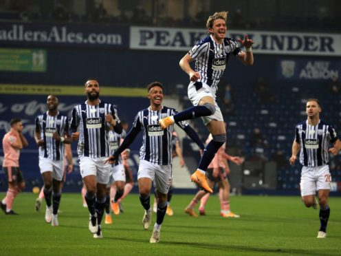 Conor Gallagher celebrated scoring the only goal as West Brom beat Sheffield United (Lindsey Parnaby/PA)