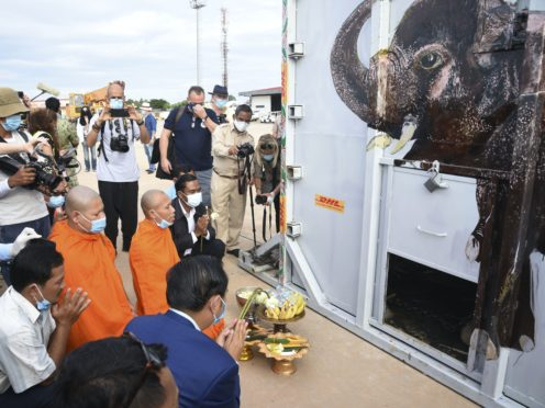 The container holding Kaavan the elephant is blessed by monks (AP)