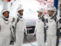 Crew-1 astronauts Shannon Walker, Victor Glover, Michael Hopkins and Soichi Noguchi (Nasa/SpaceX)