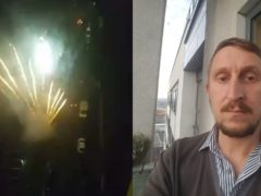 Fireworks go off outside a block of flats in Manchester, filmed by resident Stephen Squires (right) (Stephen Squires/PA)