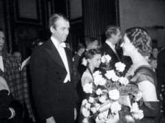 It's A Wonderful Life starring James Stewart, pictured meeting Princess Elizabeth, was named top Christmas film (PA)