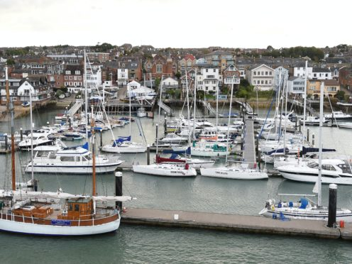 General view of the harbour area in West Cowes on the Isle of Wight
