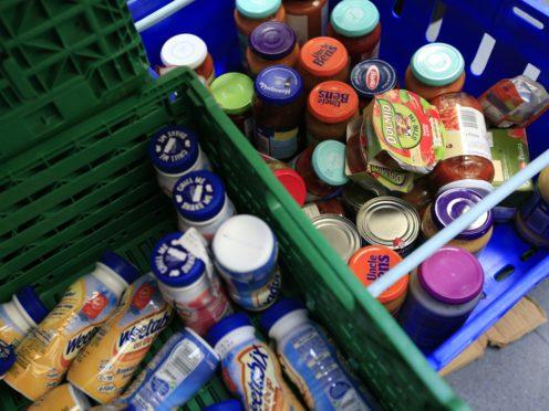 Stocks of food at a London food bank (Jonathan Brady/PA)