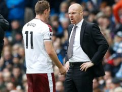 Burnley boss Sean Dyche (right) believes his side, including striker Chris Wood (left) will rediscover their goals touch (Martin Rickett/PA Images).
